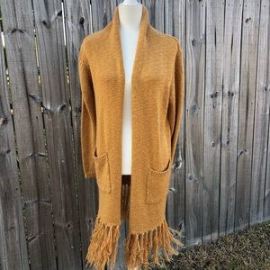 Knot Sisters Tan Open Front Fringe Cardigan